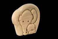 Elephant with baby 3D-Puzzle in natural wood - Dolfi