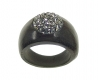 Wooden Ring with Swarovski Crystals Black Diamant - Dolfi