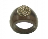 Wooden Ring with Swarovski Crystals Gold - Dolfi