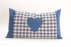 Cushion with pillowcase - blue with heart- 20 x 35 cm with biological herbs- Feichter Bernhard