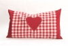 Cushion with pillowcase - red with heart- 20 x 35 cm with biological herbs- Feichter Bernhard